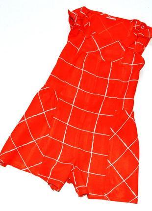 Next. шикарный красный в клетку вискозный  ромпер. 12-18 мес.рост 86 см