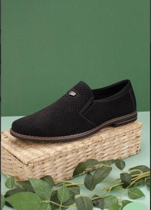 Черные мужские туфли с перфорацией летние модные красивые