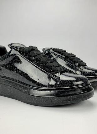 Лакированные кроссовки alexander mcqueen черный цвет (весна-лето-осень)😍