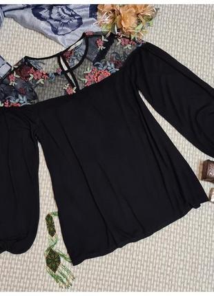Блуза с вышивкой tu/пышный рукав/вискоза