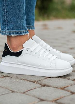 Классические кожаные кроссовки alexander mcqueen белый цвет (весна-лето-осень)😍