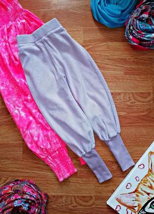 Детские велюровые спортивные штаны для девочки - рост 98-104 см