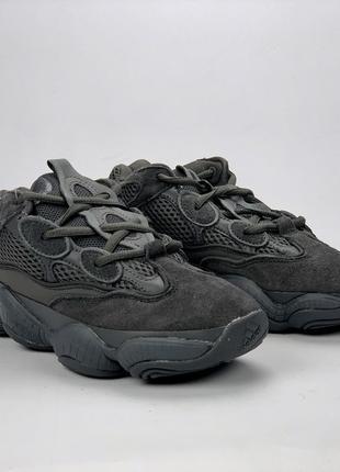 Замшевые кроссовки adidas yeezy boots 500 черный цвет (весна-лето-осень)😍