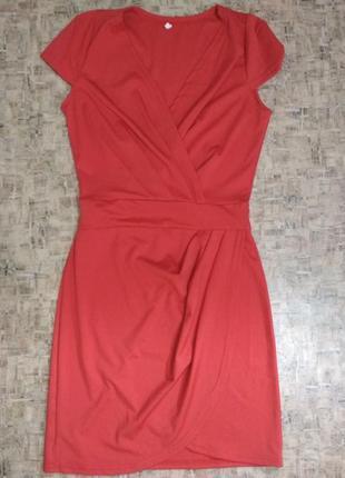 Караловое мини платье