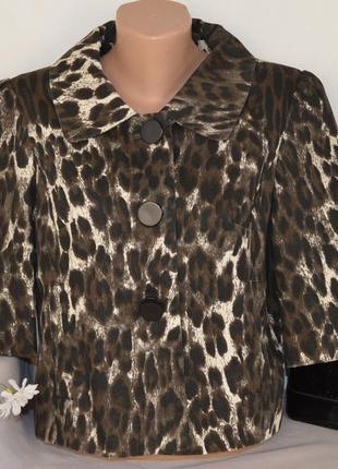 Брендовый леопардовый коттоновый пиджак жакет полупальто с карманами atmosphere этикетка
