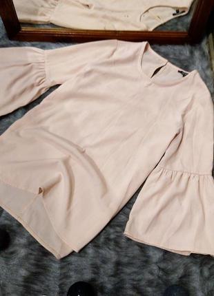 #розвантажусь блуза топ кофточка пастельного кремового оттенка с рукавами воланами pep&co