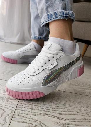 Шикарные женские кроссовки puma cali pink silver