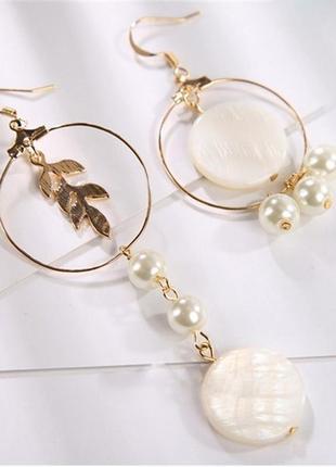 Асимметричные серьги с жемчугом модная бижутерия