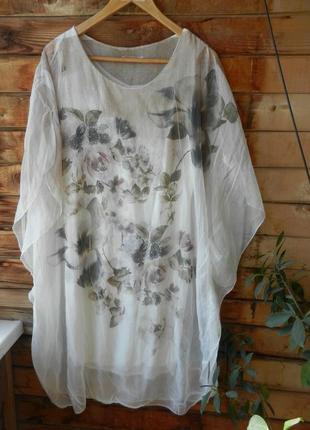 Шикарное платье туника италия натуральный шелк с трикотажным подкладом