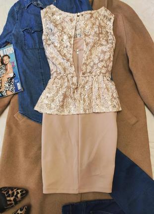 Платье бежевое с баской с пайетками гипюровое футляр карандаш miss selfridge4 фото
