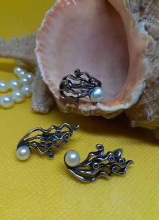 Jenavi комплект серьги и кольцо набор сет с натуральным жемчугом мельхиор серебро