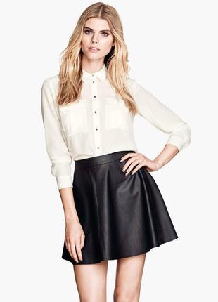 Классная юбка кожзам с карманами abercrombie & fitch