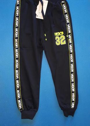 Стильные спортивные брюки джоггеры т синий с крафт лампасами
