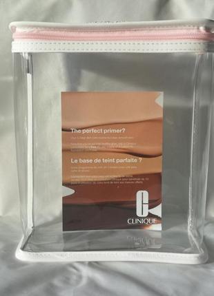 Прозрачная косметичка с ручкой от clinique