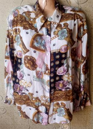 Benneton блуза рубашка принт стиль версаче.