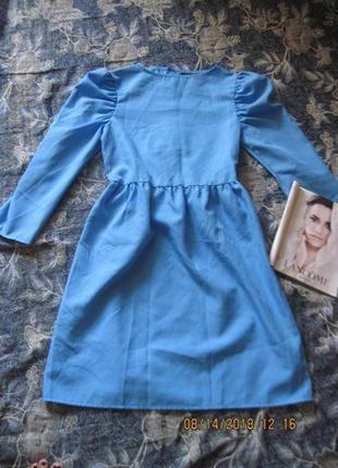 Весну никто не отменял! небесно голубое платье с объмным рукавом