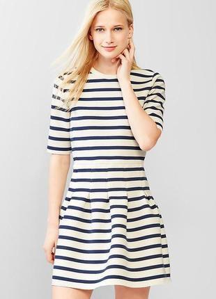 Трендовое платье в полоску, плотная ткань юбка колокольчик, морская полоска gap