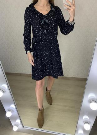 Платье в горошек с оборками cropp