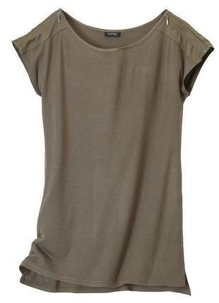 Удлиненная футболка с молниями на плечах tcm tchibo