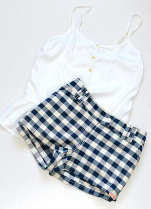 Классные шорты  клетку,шорты летние, сине-белые шорты river island