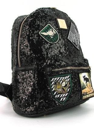Черный маленький рюкзак с пайетками