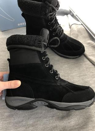 Черные ботинки из натуральной замши водонепроницаемые  easy spirit