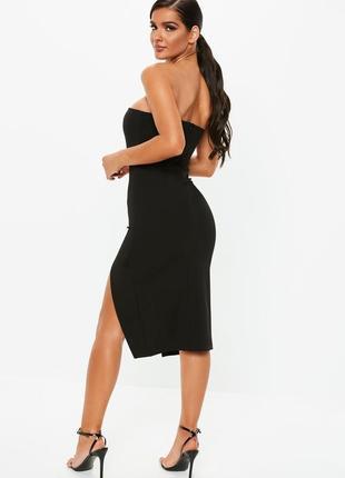 Роскошное платье бандо миди черное лаконичное с разрезом missguided
