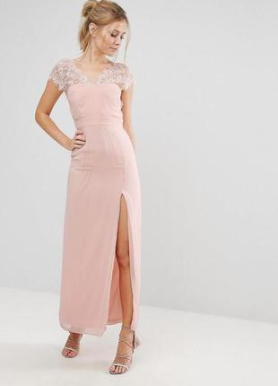 Эксклюзивное платье макси в пол с с кружевной отделкой elise ryan a1177