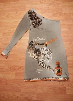 Платье ассиметрия леопард стразы xs/s