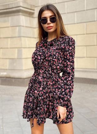 Платье короткое длинный рукав