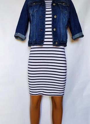 Стильный весенний лук ( трикотажное платье+ джинсовый пиджак)1 фото