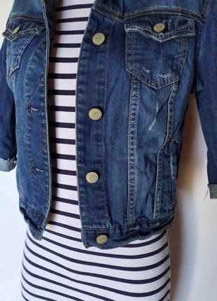 Стильный весенний лук ( трикотажное платье+ джинсовый пиджак)4 фото
