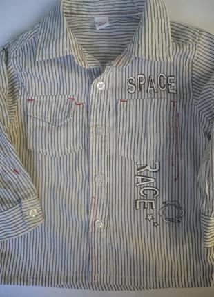 Рубашка в полоску на мальчика 1 года, хлопок
