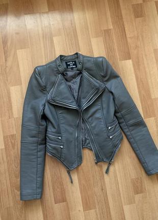 Кожаная куртка косуха кожаная куртка с плечиками цвет серый