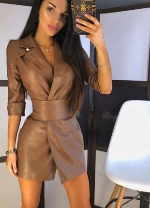 Актуальное кожаное платье пиджак из эко-кожы цвет мокко