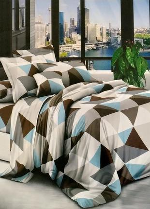Стильный постельный комплект из бязи gold - разноцветные треугольники, все размеры