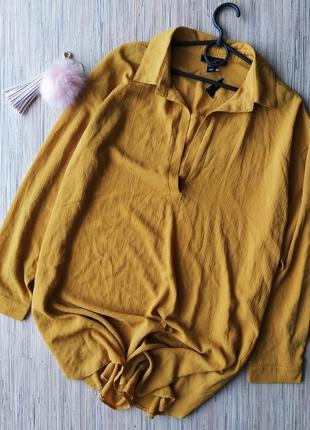 Горчичная шифоновая удлиненная блуза