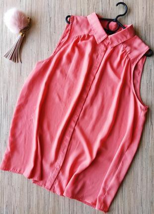 Красивая коралловая блуза рубашка без рукавов