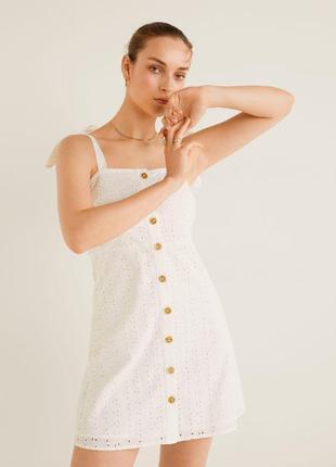 Mango мини платье с вышивкой, s