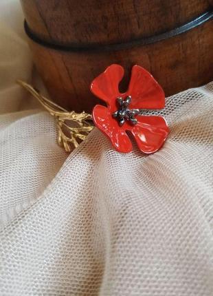 Брошь «красный цветок»🌺🎀🧷🎁значок цветок, красный мак