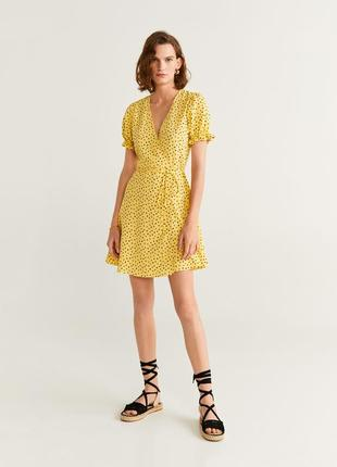 Mango платье мини в горох с рукавами фонарик ,s, m