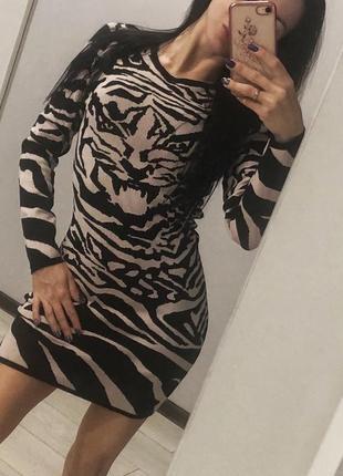 Платье резинка леопард зебра тигровый принт mcqueen