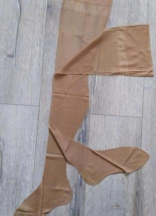 Нейлоновые винтажные чулки под пояс, телесного цвета с узором, франция!