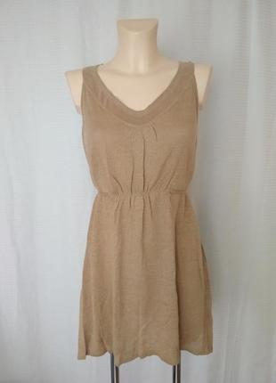 Платье сарафан туника бежевая лен+вискоза от betty barclay