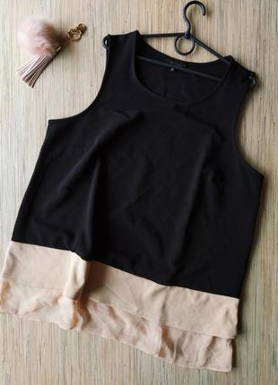 Шикарная плотная блуза с вставкой из шифона