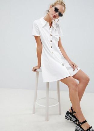 Платье-поло с черепаховыми пуговицами asos design m-l