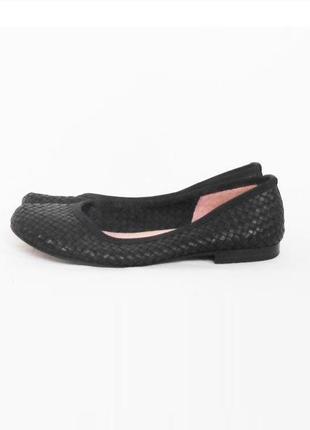 Черные плетеные кожаные  балетки