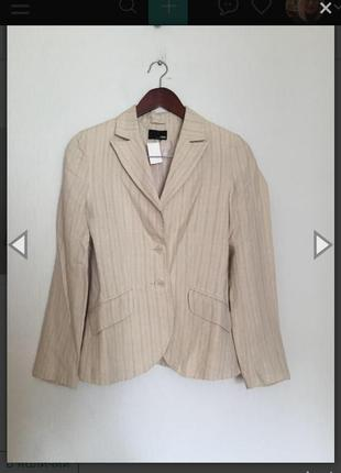 Пиджак лён льняной бежевый в полоску