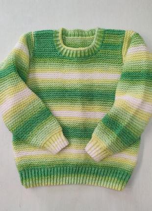 Яркий тёплый свитер ручной работы