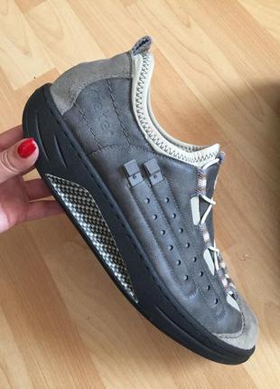 Кожаные ортопедические туфли мокасины rieker